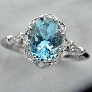 *NEW 925 Sterling Silver Aquamarine Diamond Ring